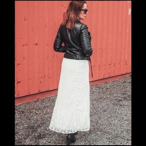 Studio West Apparel ivory lace maxi skirt